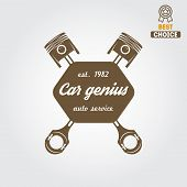 Logo and logotype element for mechanic, garage, car repair and auto service poster