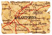 San Antonio Texas on an old torn map from 1949 isolated. Part of the old map series. poster