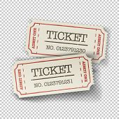 Two cinema tickets (pair). Isolated on transparent background, vector illustration. poster