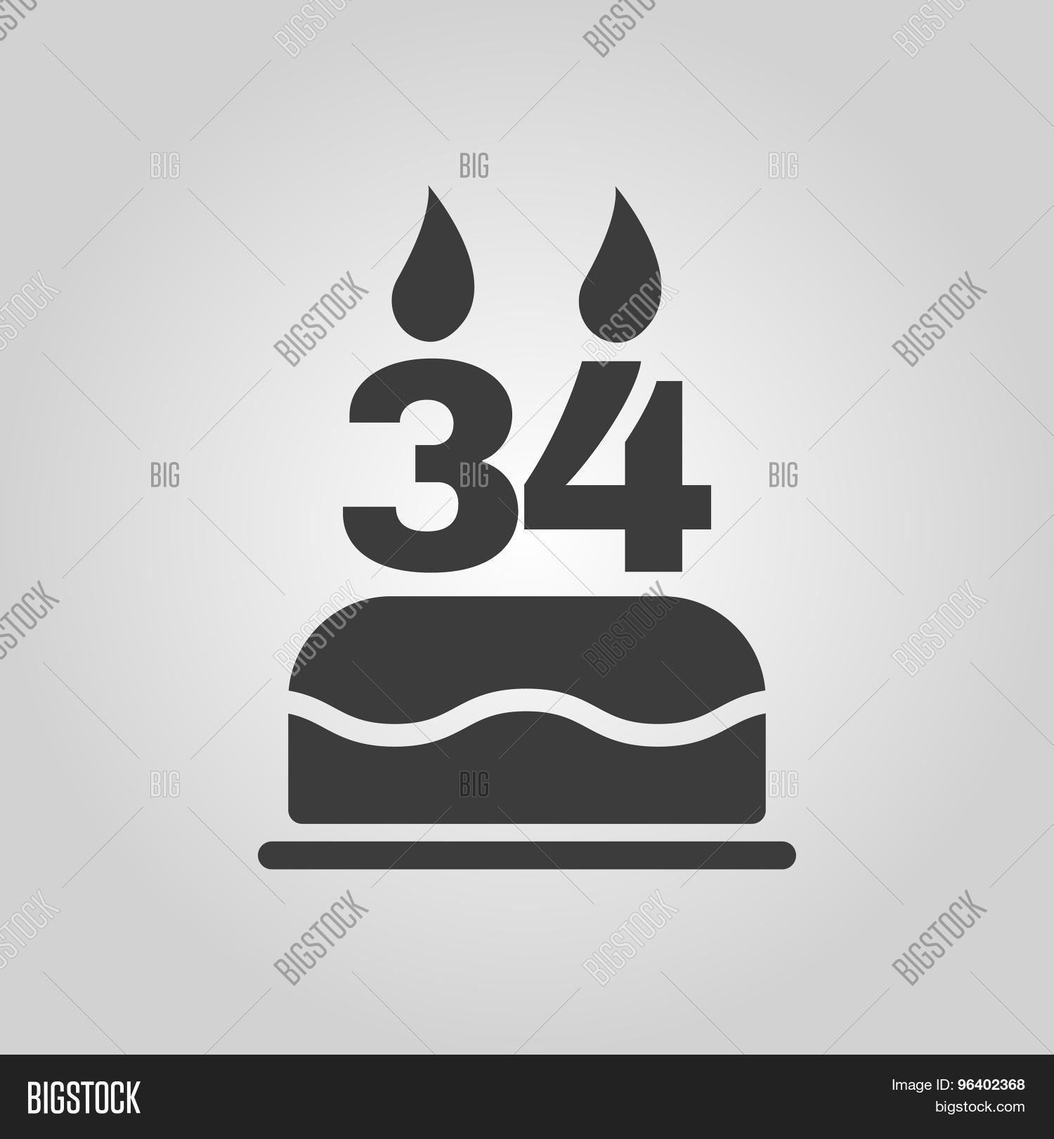 Birthday cake candles form number vector photo bigstock the birthday cake with candles in the form of number 34 icon birthday symbol biocorpaavc