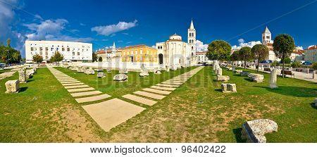 Town of Zadar Forum square panorama Dalmatia Croatia poster