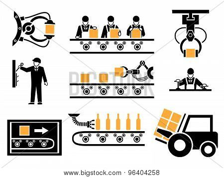 Manufacturing process or production icons set