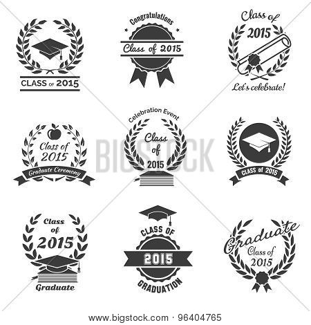 Graduation labels. High School and congratulations graduate logo set