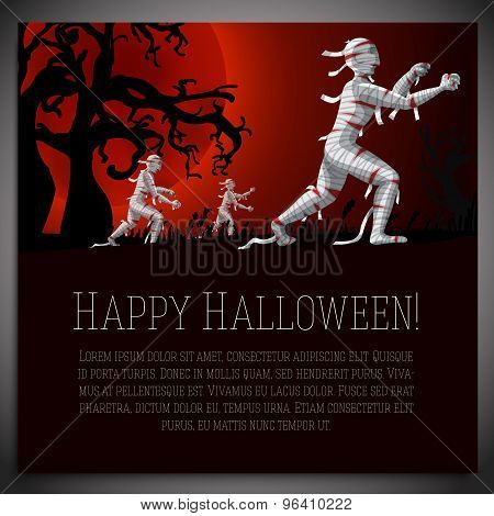Big halloween banner with illustration of mummies on the red moony background and scary tree branche