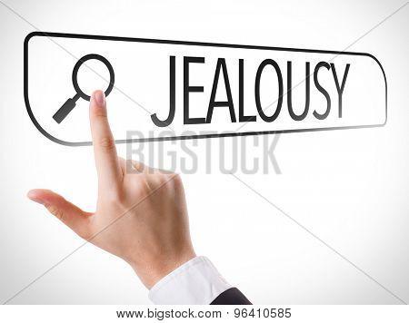 Jealousy written in search bar on virtual screen