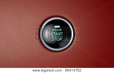 Push To Start Red Leather Button