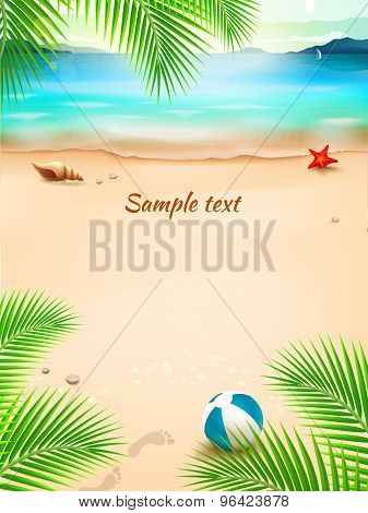 Summer Beach Background, Seascape, Sand And Wave. Vector Illustration