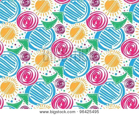 Vector colorful seamless pattern with marker texture. Hand drawn doodle marker background for design of gift packs textile cards etc. Abstract marker line art with circles sun arrows. poster