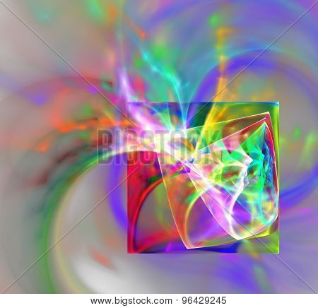 Design made of colorful fractal turbulence to serve as backdrop for projects related to fantasy dreams creativity imagination and art. poster