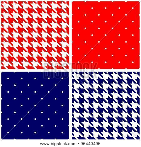 Blue, white and red tile vector background set