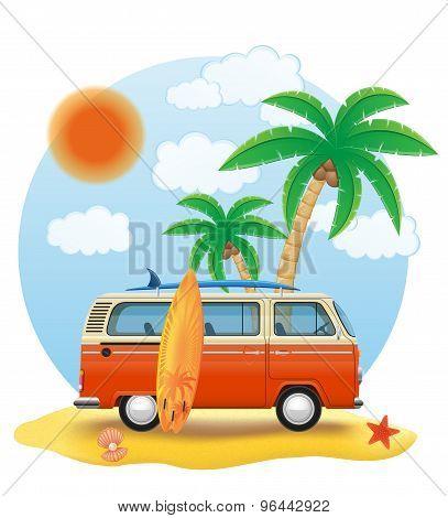 Retro Minivan With A Surfboard On The Beach Vector Illustration