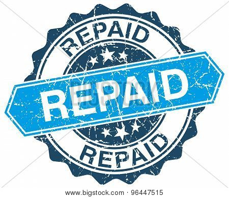 Repaid Blue Round Grunge Stamp On White