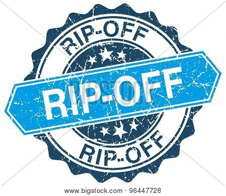 Rip-off Blue Round Grunge Stamp On White