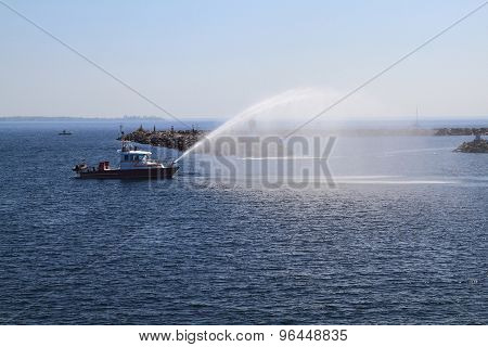 Fire Rescue Ship Checking Water Guns