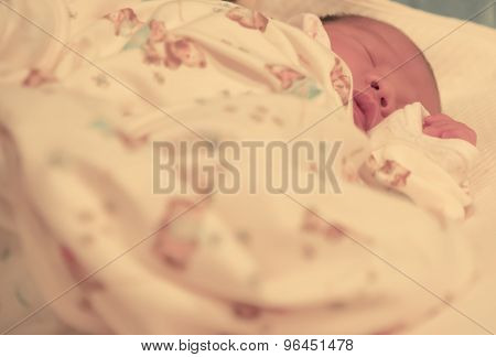 Asian Baby Female Sleep On Bed Focused On Her Face