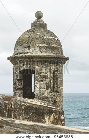 Sentry Box Overlooking The Atlantic Ocean At 'el Morro' (castillo San Felipe Del Morro) San Juan, Pu