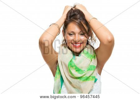 Laughing Pretty Woman Holding Back Her Hair