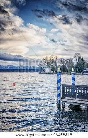 Lake Tutzing With Landing Bridge