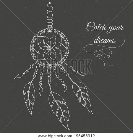 Dreamcatcher. Abstract background with feathers and decorative laces.