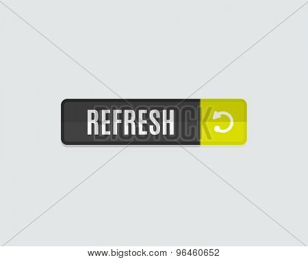 Refresh web button. Modern flat design, paper graphic, website icon and design element