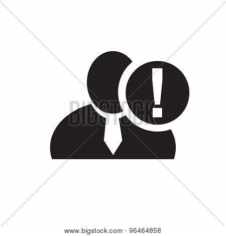 Black Man Silhouette Icon With Exclamation Mark In An Information Circle, Flat Design Icon For Forum