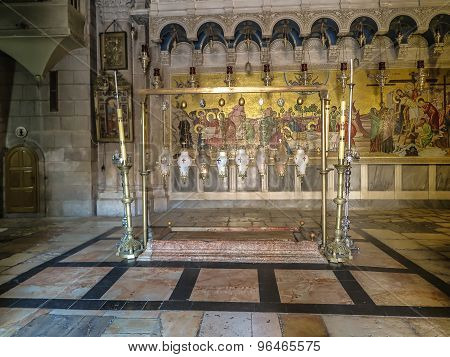 Stone Of The Anointing Of Jesus In The Holy Sepulchre, The Holiest Place Of Christians, Jerusalem