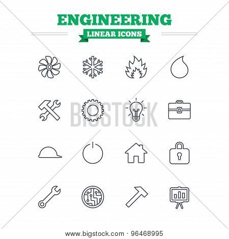 Engineering linear icons set. Ventilation, heat and air conditioning symbols. Water supply, repair service and circuit board thin outline signs. Lamp, house and locker. Flat vector poster