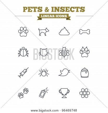 Pets and Insects linear icons set. Thin outline signs. Vector