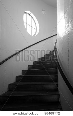 The spiral staircase of Coit Tower in San Francisco California.
