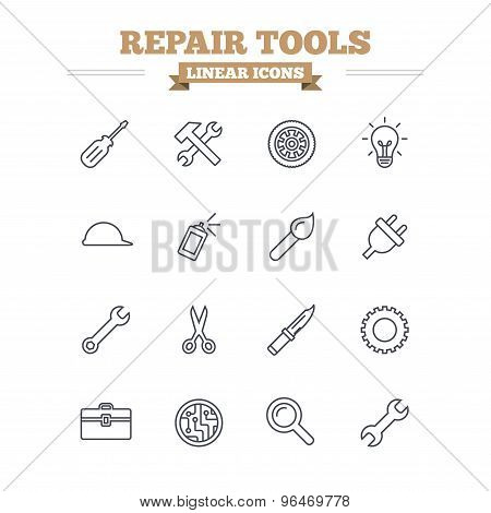 Repair tools linear icons set. Thin outline signs. Vector