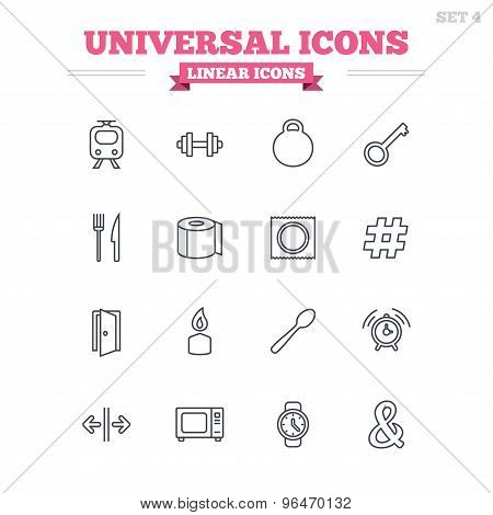 Universal linear icons set. Thin outline signs. Vector