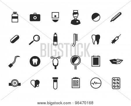 Medical Icons Set. Health or doctors and hospital symbols. Stock illustration. Interface elements..