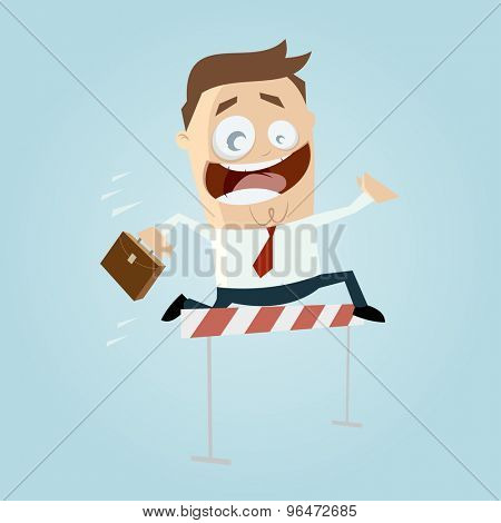 funny businessman jumping over hurdles