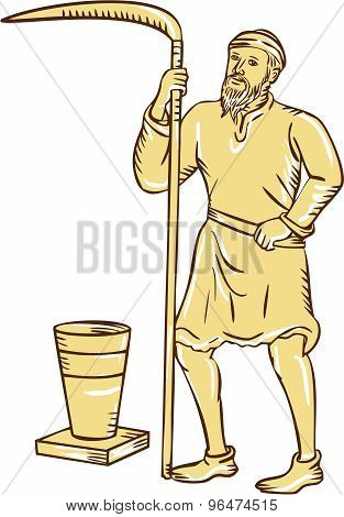Etching engraving handmade style illustration of a medieval farmer farm worker holding scythe standing facing front with pot bucket pail set on isolated white background. poster
