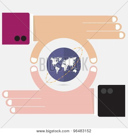 Businessman Hand And Small World Symbol In His Hand. Business And Finance Concept. Corporate Busines
