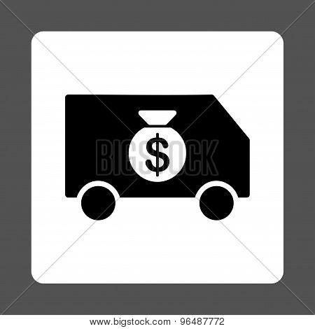 Collector Car icon from Commerce Buttons OverColor Set. Vector style is black and white colors, flat square rounded button, gray background. poster