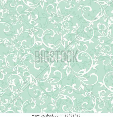 Vector Sea Green Swirly Braches Seamless Pattern