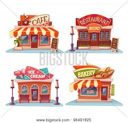 Cafe, restaurant, ice-cream shop and bakery. Vector set. Illustration