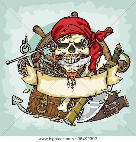 Pirate Skull logo design, vector illustrations with space for text,