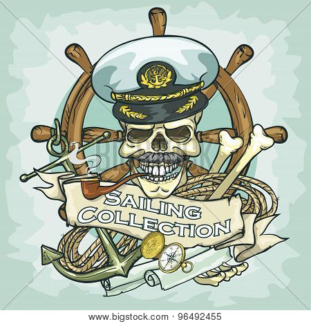 Captain skull logo design - Sailing Collection