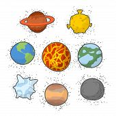 Set planets solar system. Funny cartoon planet- Star: Earth and Moon Sun and Jupiter. Vector illustration poster