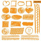 Vector marker line elements set for your design. Hand drawn isolated orange circle square heart stroke etc on white background. Easy change color in one click! poster
