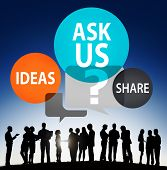 Ask us Customer Service Guidance Ideas Share Concept poster