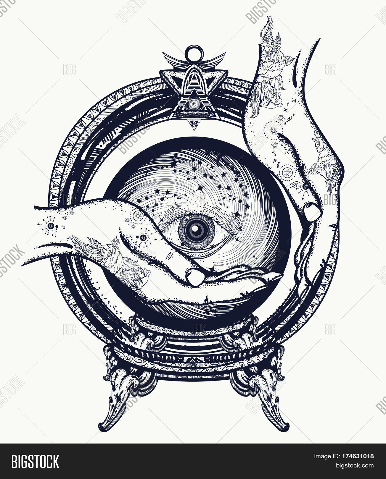 Fortune Teller Tattoo Vector & Photo (Free Trial) | Bigstock