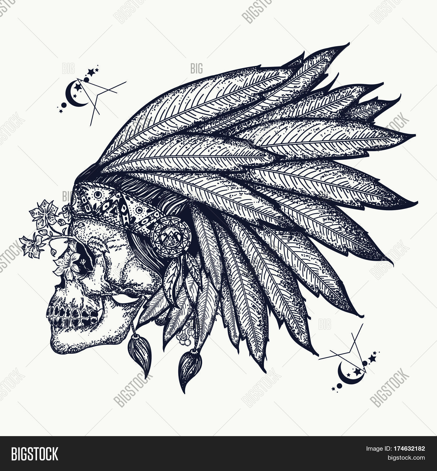 Indian Skull Tattoo Vector Photo Free Trial Bigstock