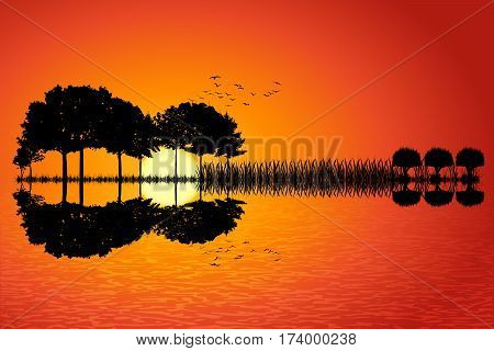 Trees arranged in a shape of a guitar on a sunset background. Music island with a guitar reflection in water. Vector illustration design.