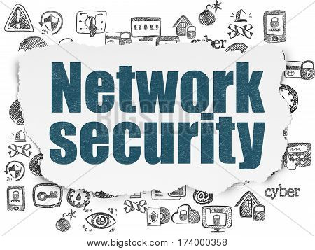 Security concept: Painted blue text Network Security on Torn Paper background with  Hand Drawn Security Icons
