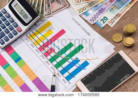 Financial close-up background. Financial accounting graphs euro pen phone and calculator.