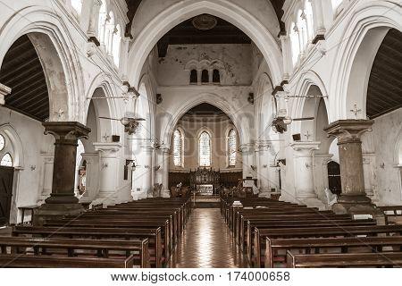 Catholic church in Negombo Sri Lanka indoor.
