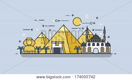 Stock vector illustration background icon linear style architecture buildings and monuments town city country travel Egypt, Egyptian pyramids, Sphinx, Cairo, Egyptian Culture, deserts flat style